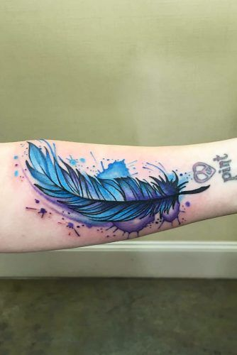 Blue Watercolor Feather Tattoo Design #watercolortattoo
