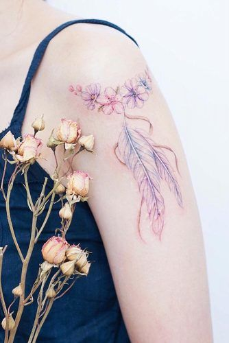 Watercolor Feather Tattoo With Flowers #watercolortattoo #flowerstattoo
