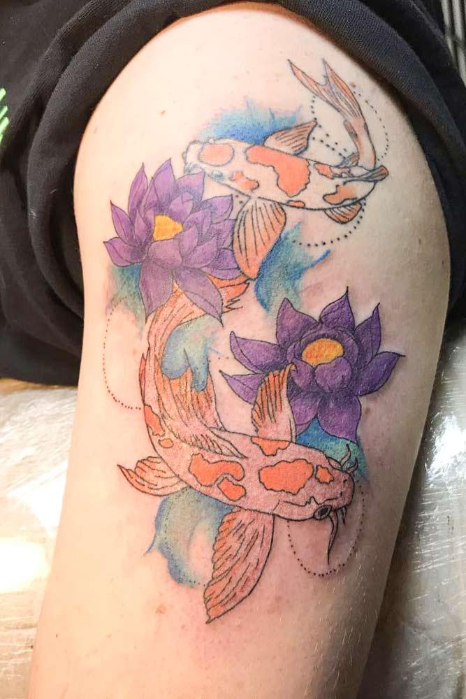 Colorful Koi Fish Tattoo For Arm #lotusflowertattoo