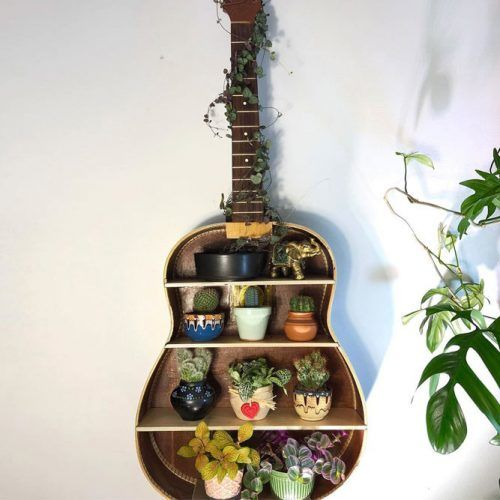 DIY Guitar Plants Stand #guitarplantstand #shelves