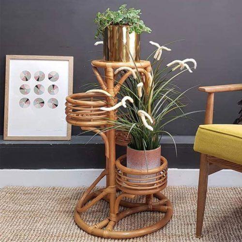 Retro Wood Plant Stand #retrostand #woodplantstand
