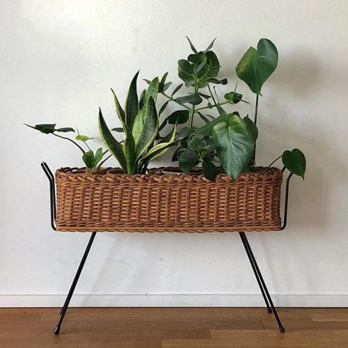 Vintage Wood Plant Stand #wickerwork