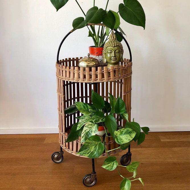 Wood Roller Plants Stand #woodplantstand #roller