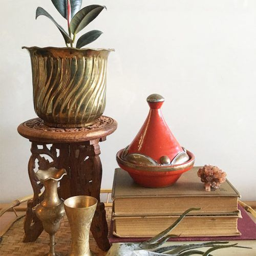 Wood Carved Plant Stand #roundplantstand