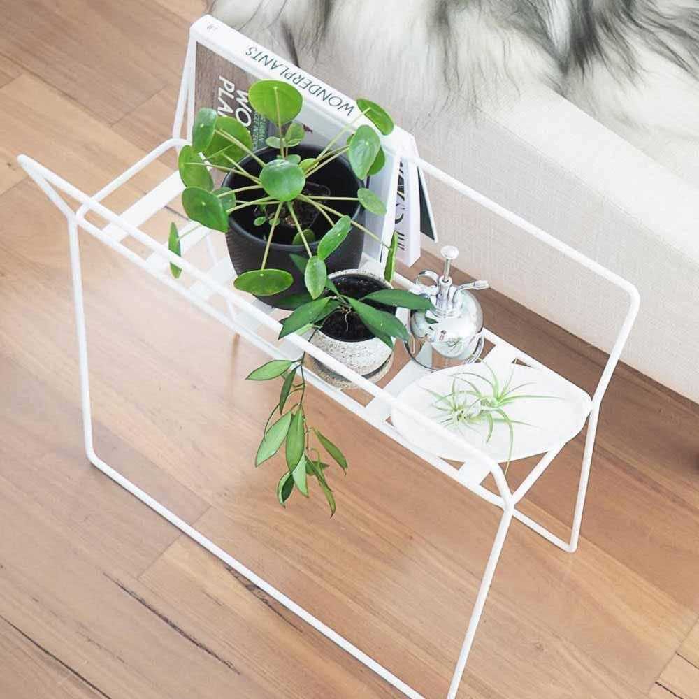 White Metallic Plant Stand #whiteplantstand