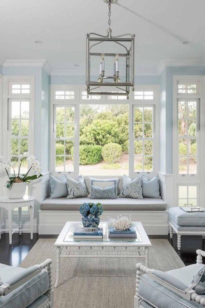 Sunroom In French Style With Classy Furniture #frenchstyle #bluecolor