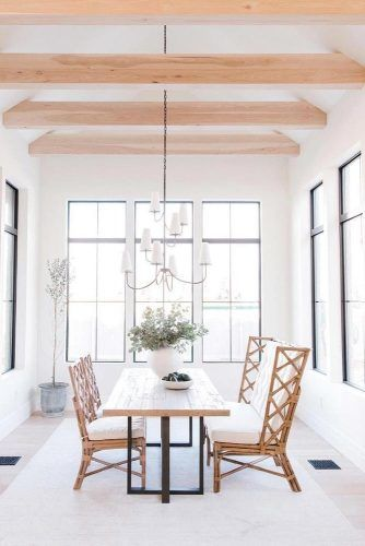 Four Season Sunroom Design With Dinner Space #wood #whitecolors