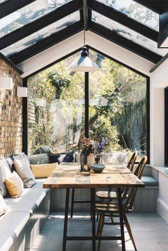 Small Sunroom With Dinner Setting #plants #restspace
