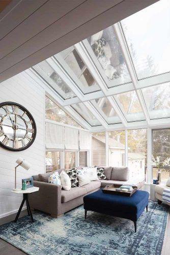 Straight Eave Sunroom With Modern Furniture #glass #modernsunroom