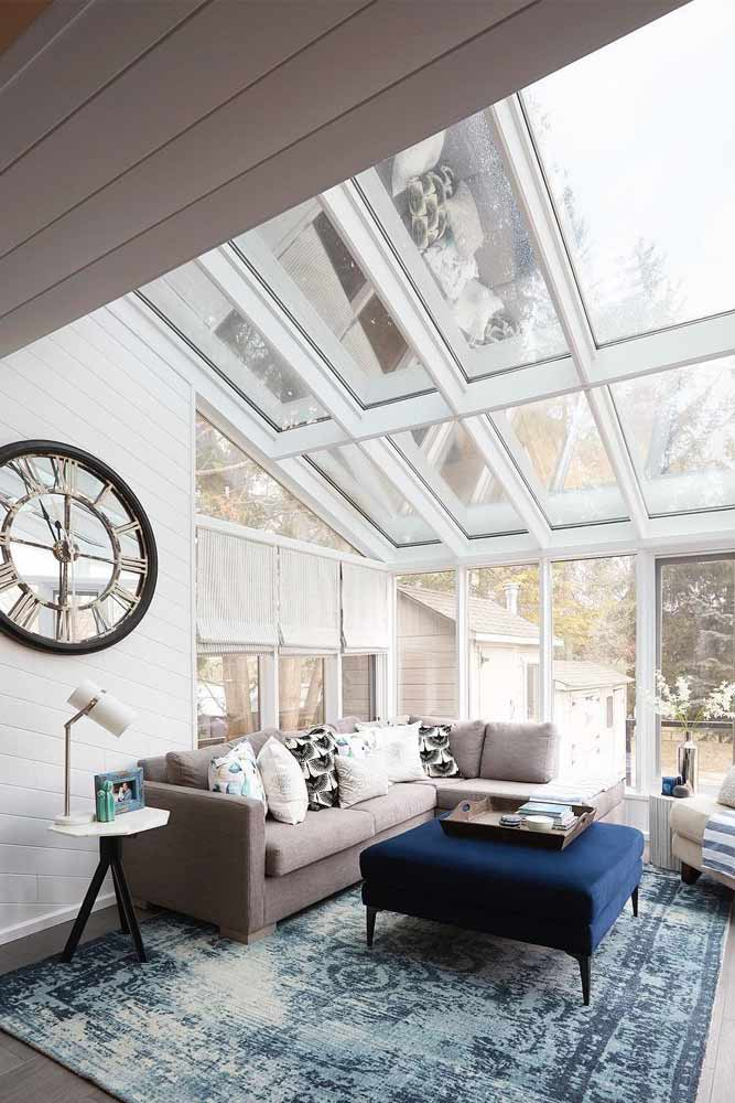 Straight Eave Sunroom With Modern Furniture #glass #modernsunroom