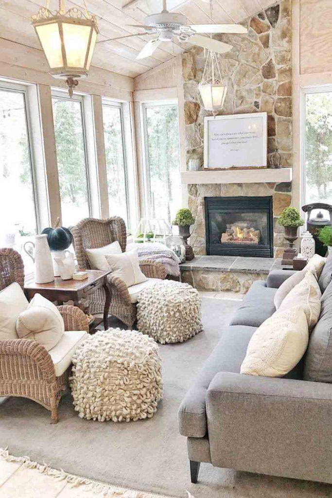 Rustic Sunroom With Fireplace #fireplace