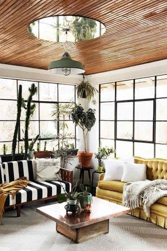 Classy Sunroom With Plants And Colored Furniture #sunroomfurniture #patternedsofa