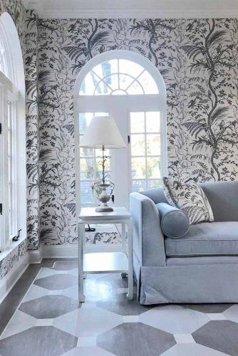 Traditional Sunroom Design With Patterned Wall And Pillows #patternedwall #pillows