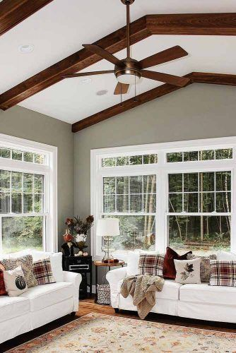 Traditional Sunroom With Wood Accents #woodaccent #classysunroom