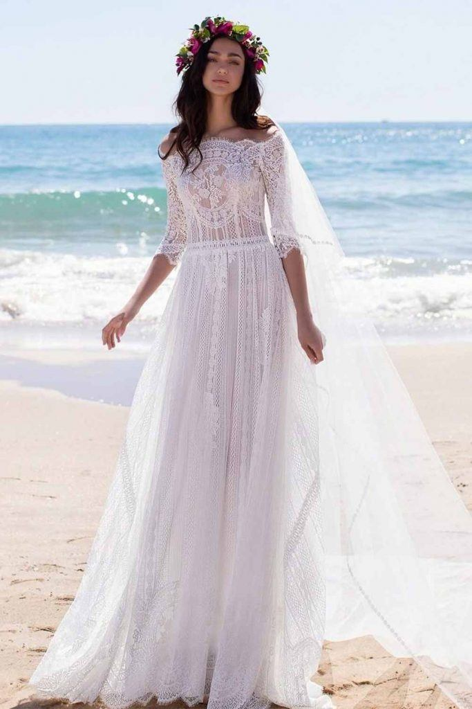 Wedding Dress With Bohemian Embroidery #bohodress #bohemiandress