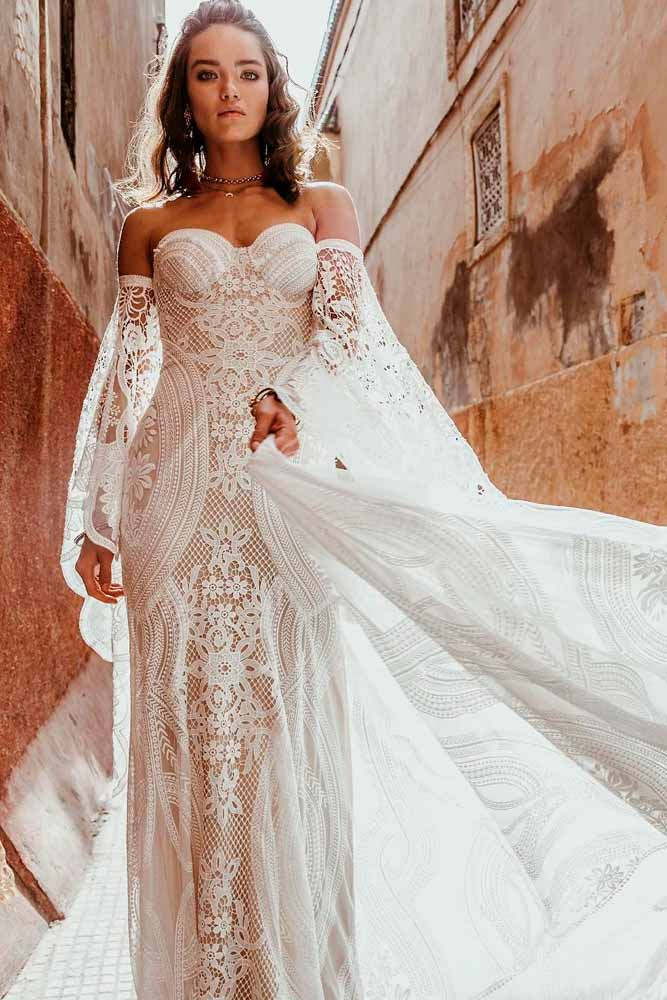 Shoulder Off Bohemian Dress With Sleeves #offtheshoulderdress #bohoweddingdress