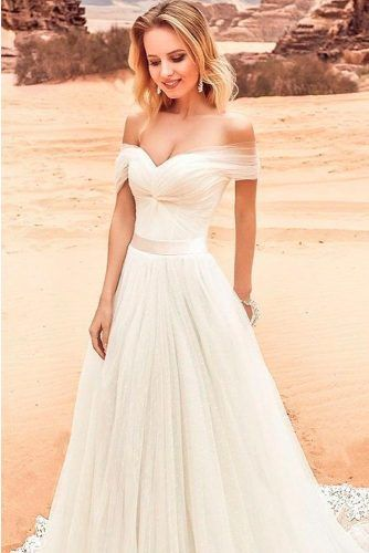 Awesome Tulle Off-The-Shoulder Beach Wedding Dress #tulleweddingdress #classicweddingdress