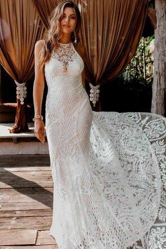 Boho Lace Wedding Dress With Halter Neck #boholacedress #bohoweddingdress