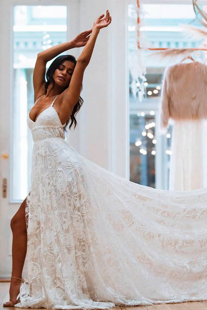 High Low Wrap Wedding Dress #modernweddingdress #stylishweddingdress