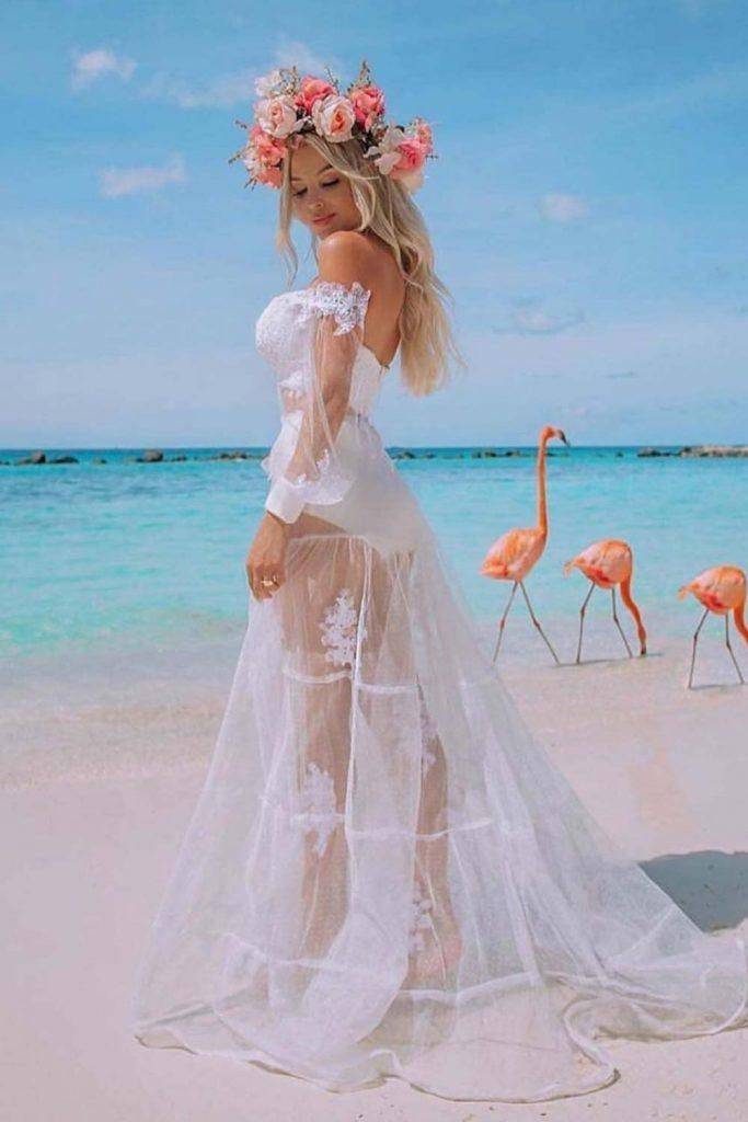 Hot Transparent Wedding Dress #hotbride #sexyweddingdress