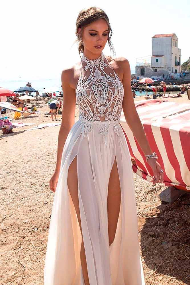 High Low Wrap Wedding Dress With Halter Neck #sexybride #sexyweddingdress