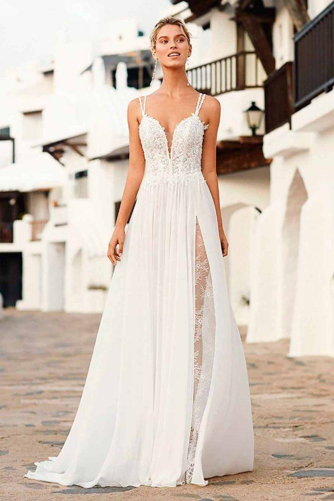 Beach Wedding Dress With A Slit #sexybride #weddingdress