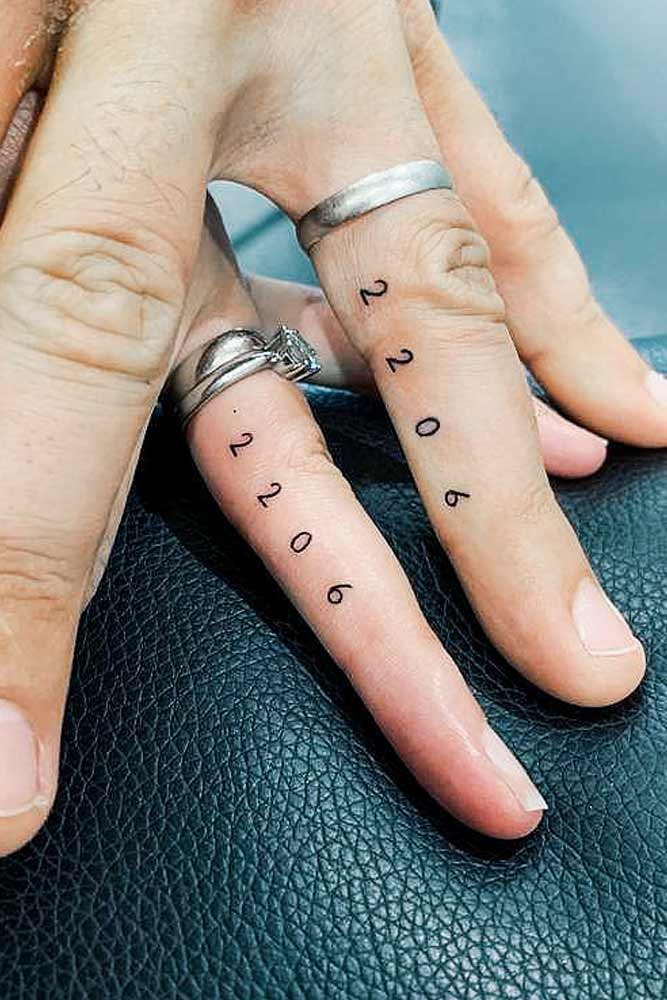 Married Couple Tattoos With Dates #datetattoo #fingertattoo #tinytattoo