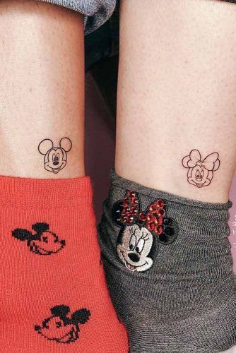 Cute Couple Tattoos With Mickey And Minnie Mouse #mickeyandminnietattoo #mickeyandminniemouse