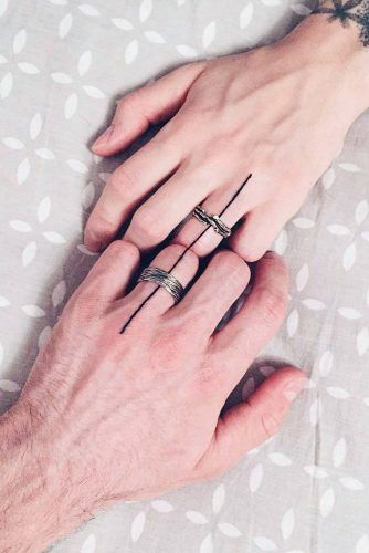 Simple Couple Tattoos With Lines #minimalisttattoo
