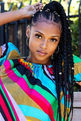 Fulani Braids Into High Pony #braids #updo #ponytail