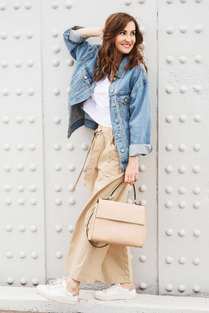 Beige Pants With Denim Jacket