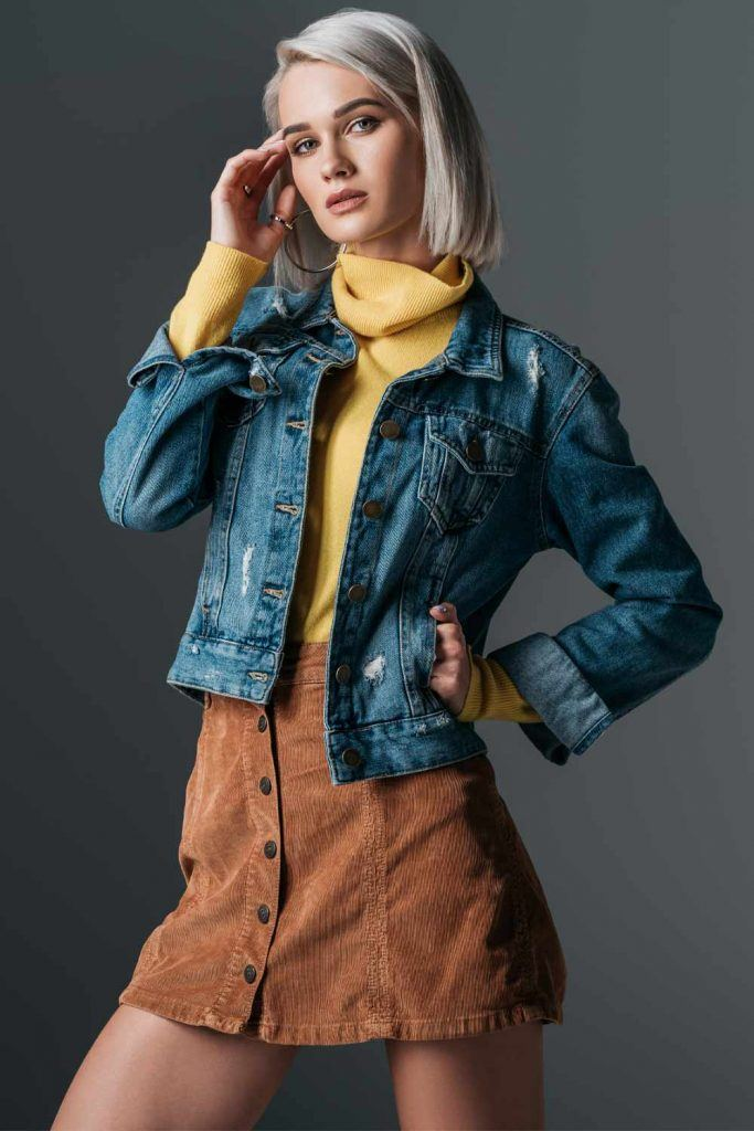 Denim Jacket and A-line Skirt