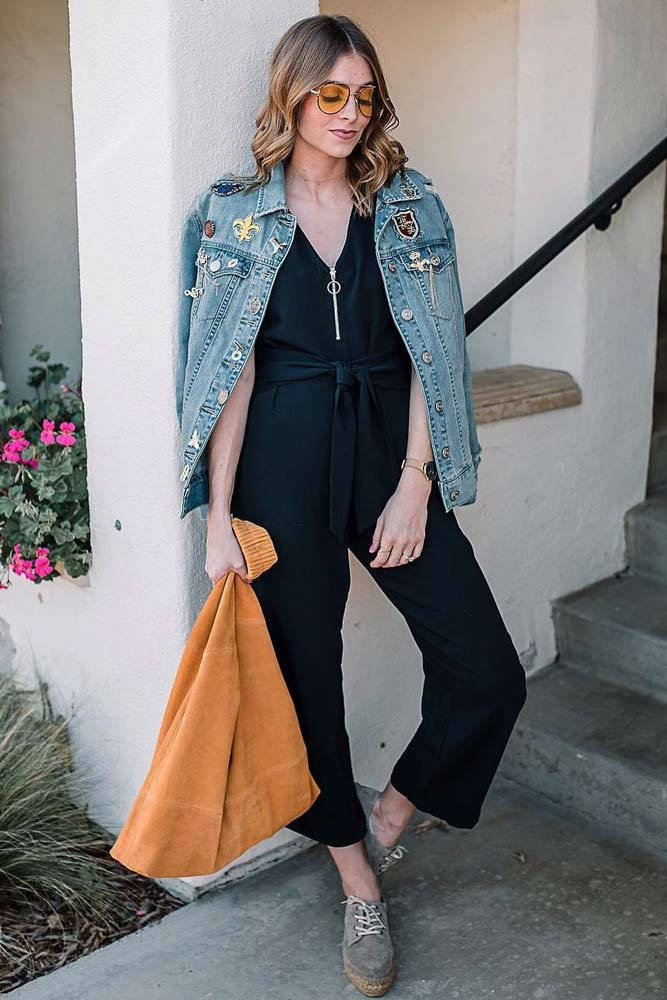 Black Jumpsuit With Denim Jacket #blackjumpsuit