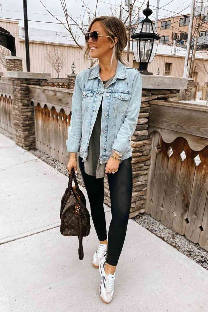 Sports Leggings With Denim Jacket #leggings #sneakers