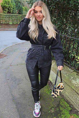 Denim Jacket And Leggings #leggins #blackjacket