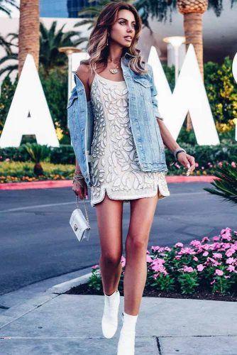 Evening Dress With Denim Jacket #eveningdressoutfit #boots