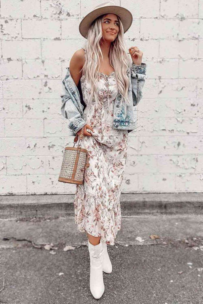 Floral Printed Dress With Denim Jacket #floraldress