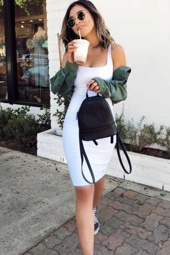 Bodycon Dress And Denim Jacket #bodycondress#greendenimjacket
