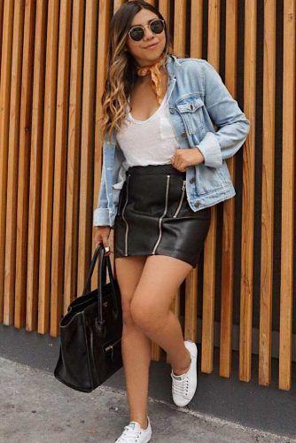Black Leather Skirt And Denim Jacket #leatherskirt #whitetop