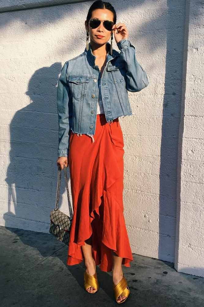 Long Skirt And Denim Jacket #maxiskirt #ruffles