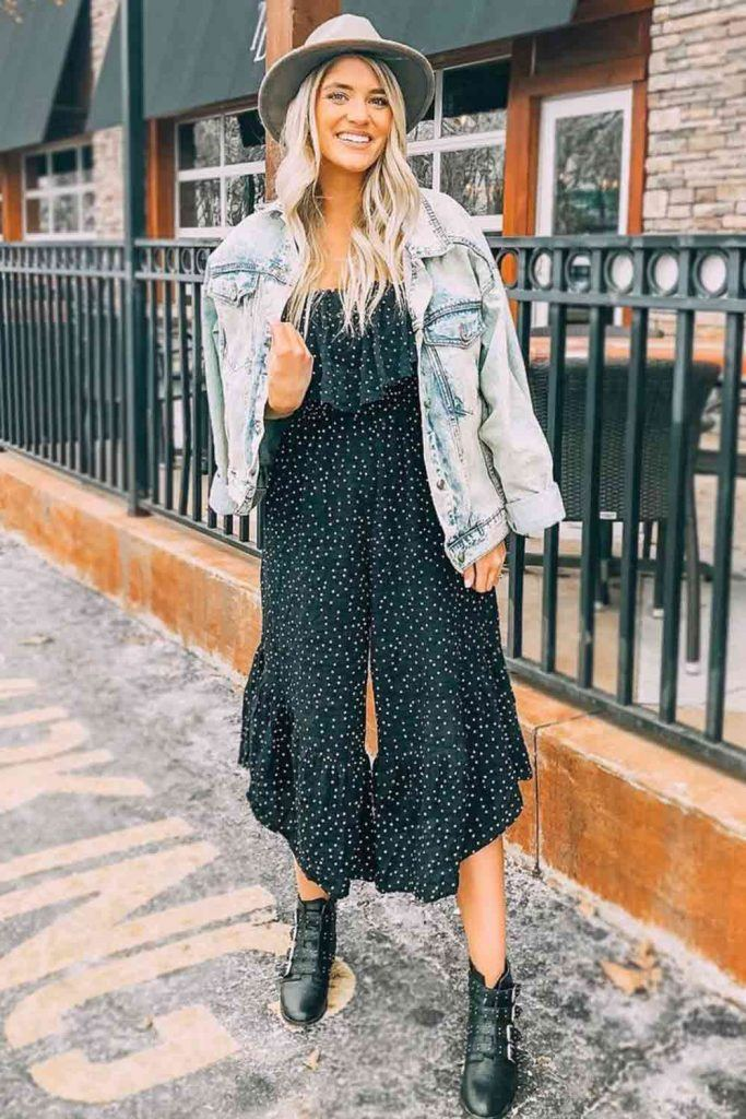 Polka Dots Jumpsuit With Denim Jacket #printjumpsuit
