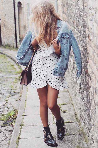 Polka Dots Dress With Jean Jacket #polkadotsdress #summerdress