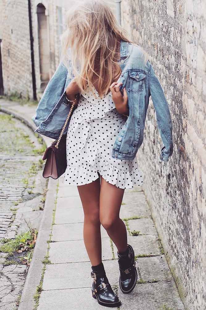Polka Dots Dress With Jean Jacket #polkadotsdress #summerdress