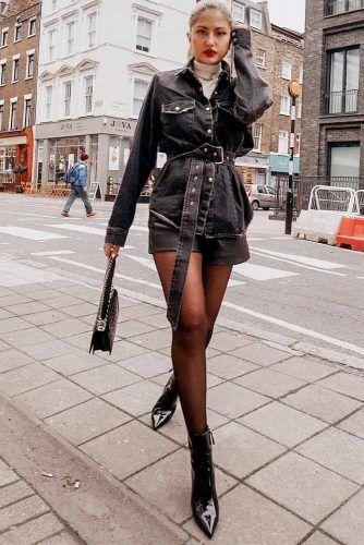 Long Black Denim Jacket With Shorts Outfit #shorts #blackdenimjacket