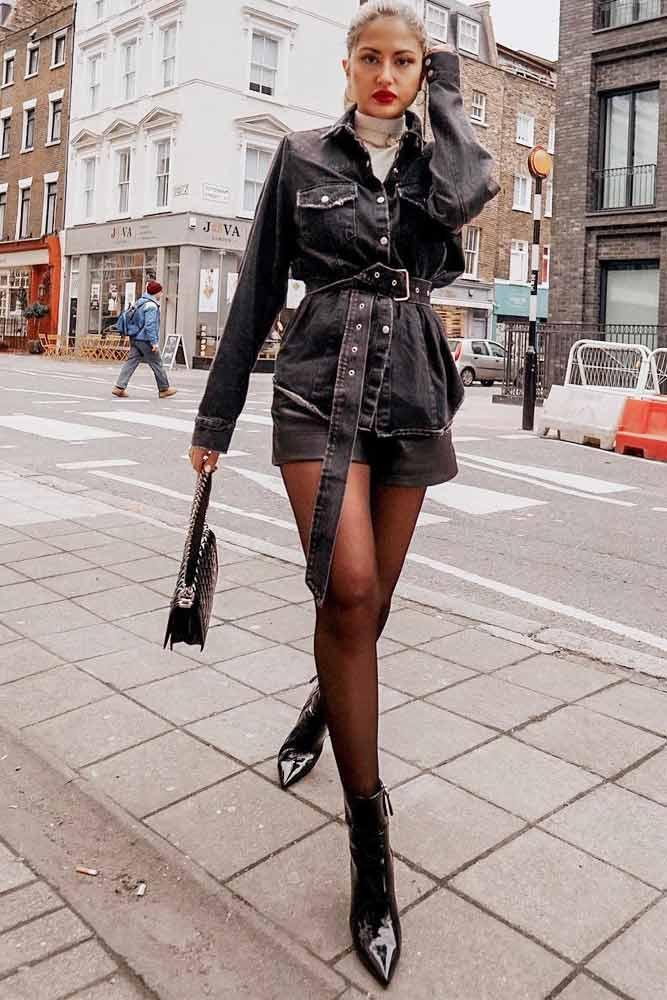 Long Black Denim Jacket With Shorts Outfit #shorts #blackdenimjacket