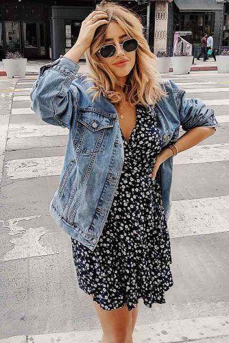 Floral Dress With Denim Jacket #summerdress #floraldress