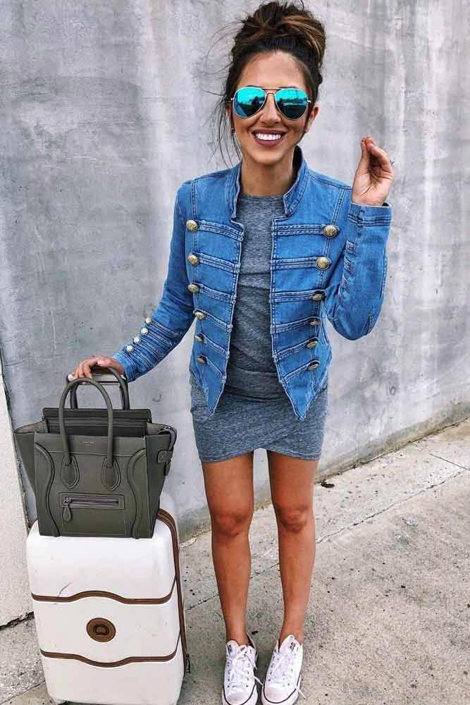 T-shirt Bodycon Dress With Jean Jacket #tshirtdress #casualdress