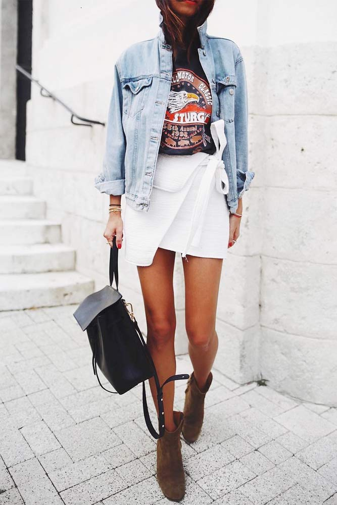Denim Jacket With Graphic Top #graphictop #miniskirt