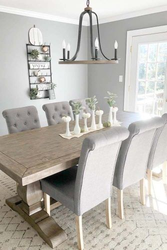 Wood Table With Soft Chairs In Modern Style #softchairs #modernfarmhousetable