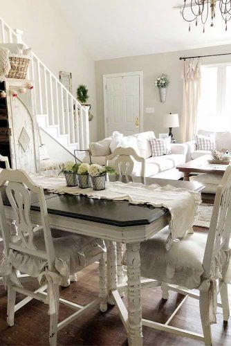 Wood White And Gray Dinner Table And Chairs #graytop #chairs